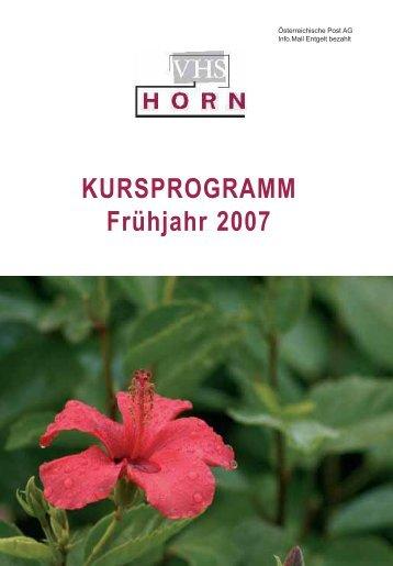 KURSPROGRAMM Frühjahr 2007 - VHS Horn