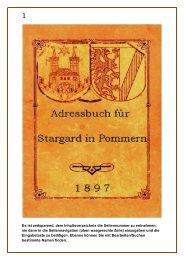 Adressbuch Stargard in Pommern von 1897 - Heimatkreis Stargard