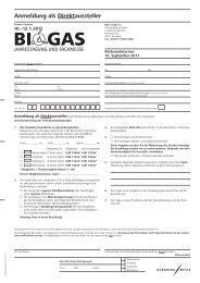 Anmeldung als Direktaussteller - BIOGAS Jahrestagung und ...