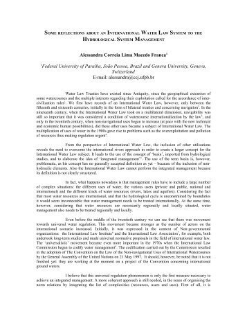 some reflections about an international water law system to ... - inweb
