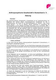 Anthroposophische Gesellschaft in Deutschland e. V. Satzung