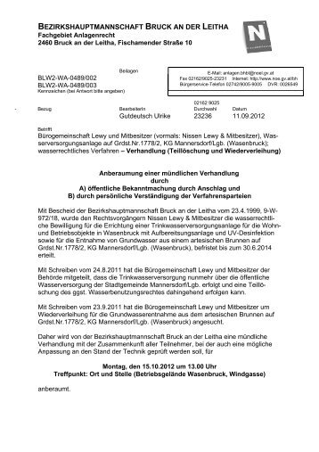 bezirkshauptmannschaft bruck an der leitha - Mannersdorf am ...