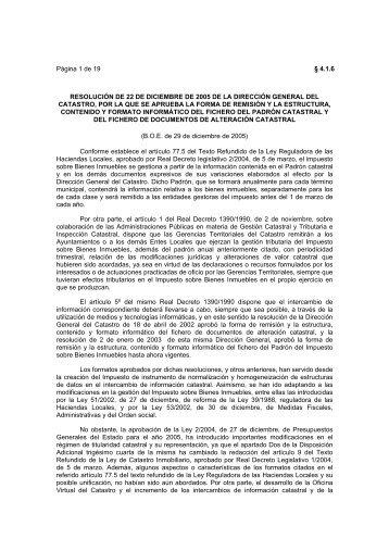 Página 1 de 19 § 4.1.6 RESOLUCIÓN DE 22 DE ... - Catastro