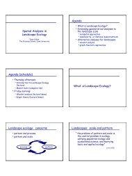 Spatial Analysis in Landscape Ecology Agenda Agenda (schedule ...