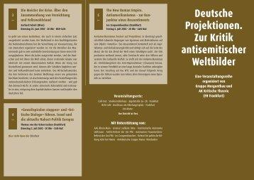 Deutsche Projektionen. Zur Kritik antisemitischer Weltbilder - copyriot
