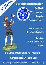 11.11.2012 SV Blau-Weiss Wiehre gegen FC Portugiesen Freiburg