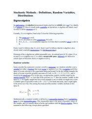 Stochastic Methods – Definitions, Random Variables, Distributions