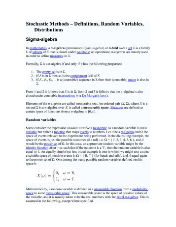 Stochastic Methods – Definitions, Random Variables, Distributions