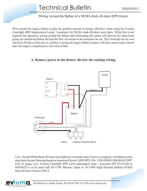 mercury vapor ballast wiring diagram technical bulletin tb20090922 1 evluma  technical bulletin tb20090922 1 evluma