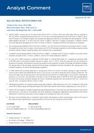 NBK Capital- Salhia Real Estate- Analyst Comment, Sept 2011