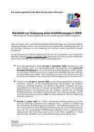 Merkblatt zur Zulassung eines Kraftfahrzeuges in NRW
