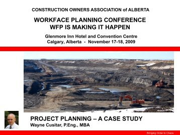 Project Planning: A Case Study - Construction Owners Association ...
