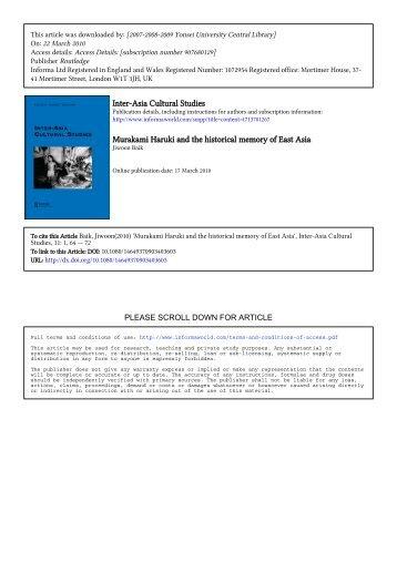 Inter-Asia Cultural Studies Murakami Haruki and the historical ...