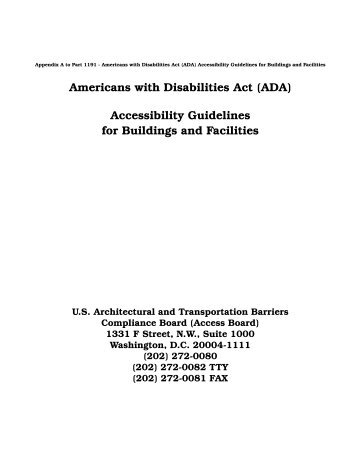 Americans with Disabilities Act (ADA) - United States Access Board