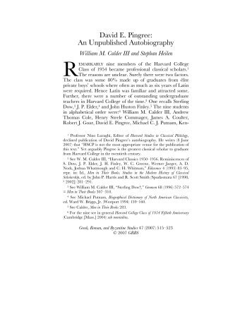 David E. Pingree: An Unpublished Autobiography - Wilbourhall.org