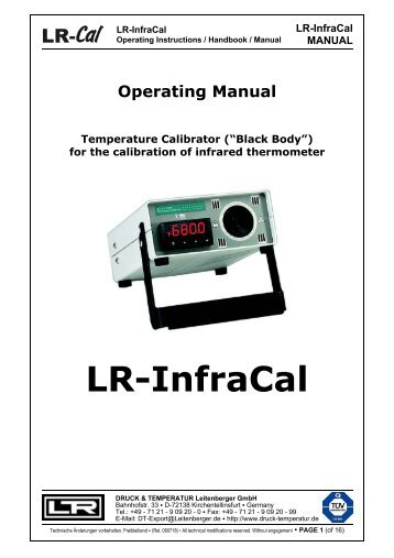 LR-InfraCal MANUAL - DRUCK & TEMPERATUR Leitenberger GmbH