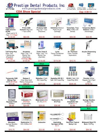 Monthly Promotion - Prestige Dental Products