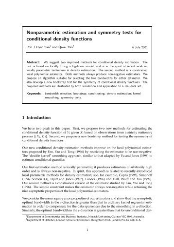 Nonparametric estimation and symmetry tests for ... - LSE Statistics