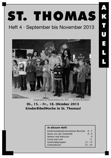 Gemeindebrief St. Thomas aktuell Nr. 4/2013