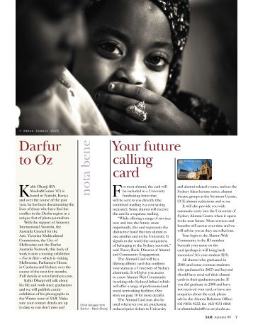 Your future calling card Darfur to Oz - The University of Sydney