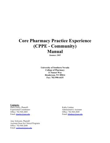 Core Pharmacy Practice Experience (CPPE - Community) Manual