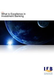 What is Excellence in Investment Banking - Infiba