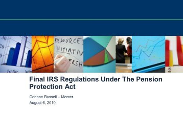 Final IRS Regulations Under The Pension Protection Act