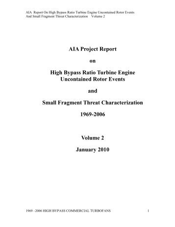 AIA Report on High Bypass Ratio Turbine Engine Uncontained ...