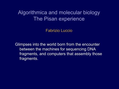 Algorithmica and molecular biology: the Pisan experience