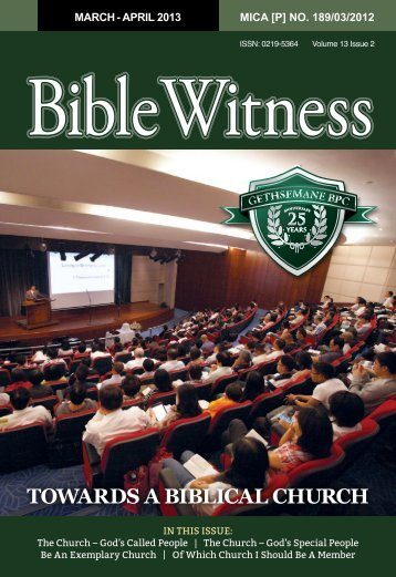 TOWARDS A BIBLICAL CHURCH - Bible Witness
