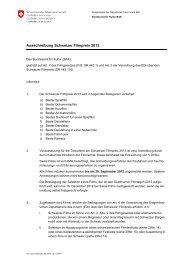 Ausschreibung Schweizer Filmpreis 2013 - Schweizer Filmakademie