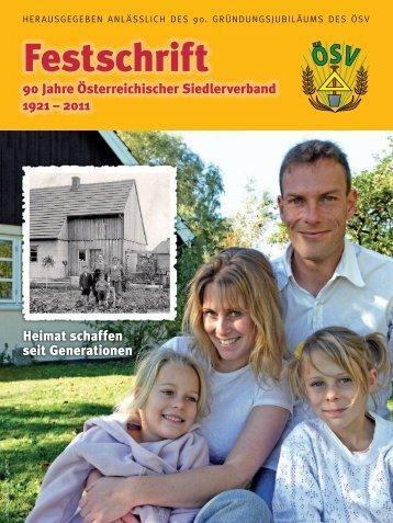 Festschrift – 90 Jahre Österreichischer Siedlerverband 1921 - 2011