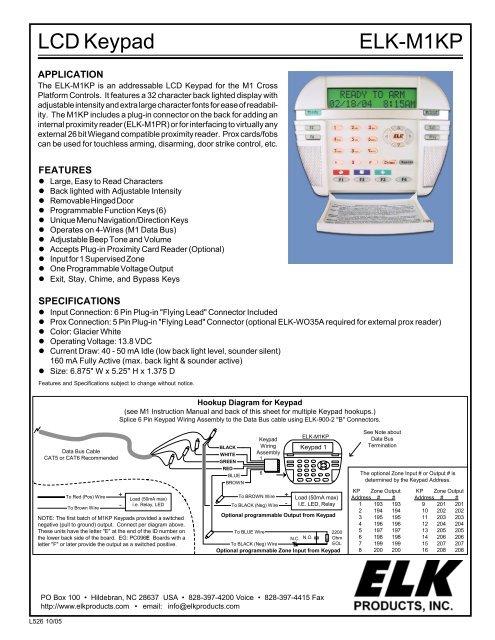 iei keypads wiring diagram elk elkm1kp lcd keypad for m1 series controller installation  elk elkm1kp lcd keypad for m1 series