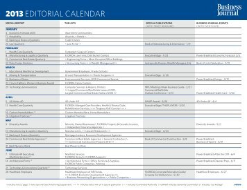 2013 EDITORIAL CALENDAR - The Business Journals