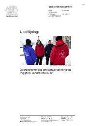 Uppföljning av 2010 års överenskommelse - Landskrona kommun