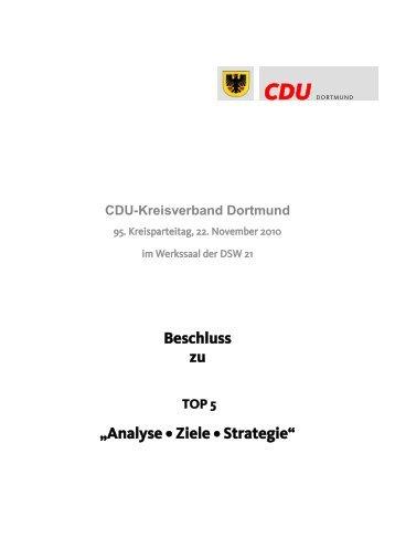 Analyse • Ziele • Strategie - CDU Dortmund