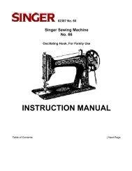 INSTRUCTION MANUAL Singer Sewing Machine ... - The Needlebar