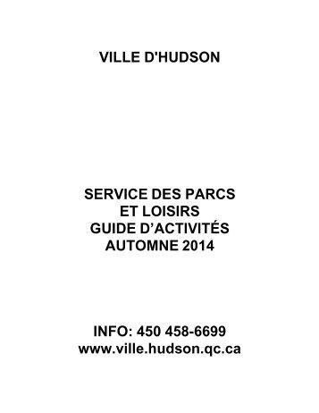 Guide d'activité - Ville d'Hudson