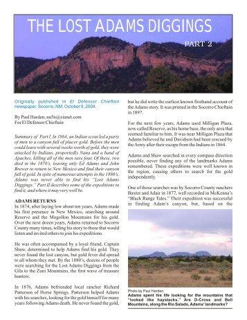 the lost adams diggings - El Camino Real International Heritage ...