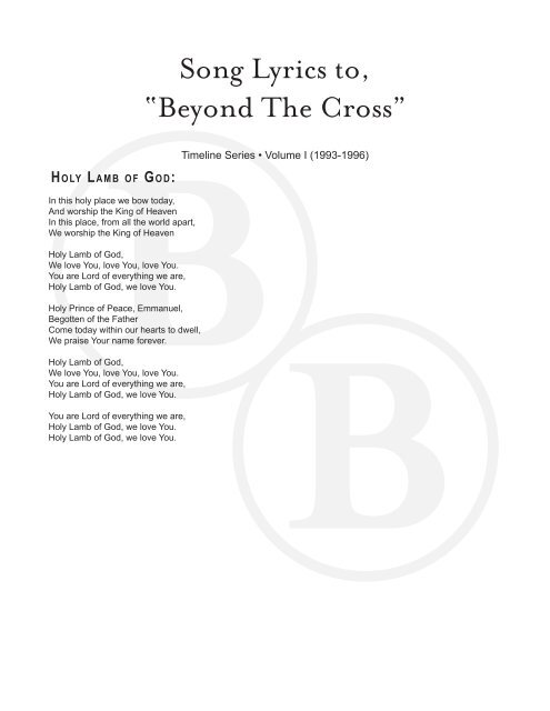 """Song Lyrics to, """"Beyond The Cross"""" - Booth Brothers"""