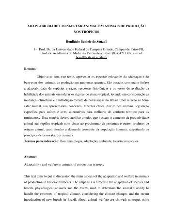 adaptabilidade e bem-estar animal em animais de ... - Cstr.ufcg.edu.br