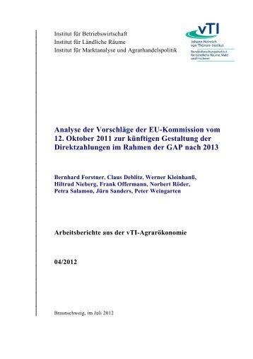 Analyse der GAP-Vorschläge (vTI Braunschweig) - Heft 8/2009 S. 314