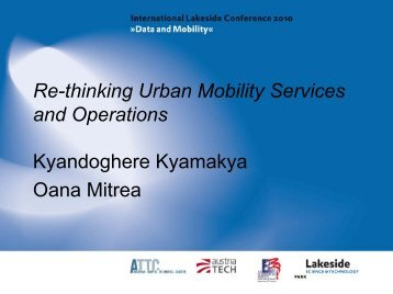 Re-thinking Urban Mobility Services and Operations - Lakeside ...