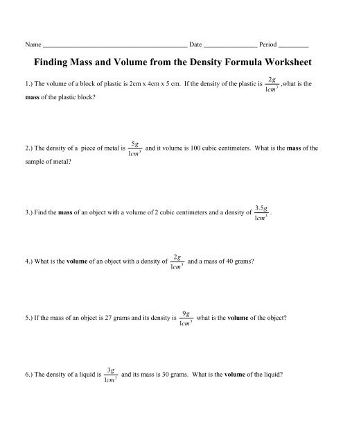 Finding Mass And Volume From The Density Formula Worksheet 1