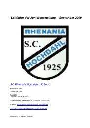 Leitfaden der Juniorenabteilung - SC Rhenania Hochdahl 1925 eV