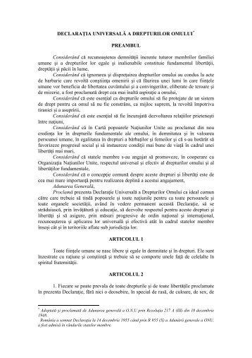DECLARAŢIA UNIVERSALĂ A DREPTURILOR OMULUI*