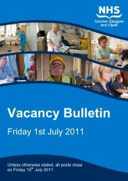 Vacancy Bulletin - NHS Greater Glasgow and Clyde