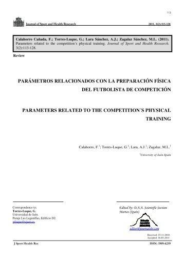 parámetros relacionados con la preparación física del futbolista de ...