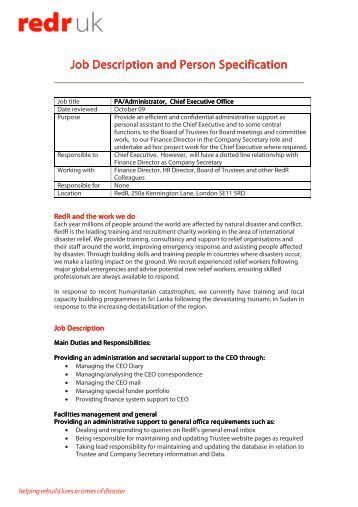 imsa interim ceo job descriptionjob description   pa to ceo  oct      charityjob