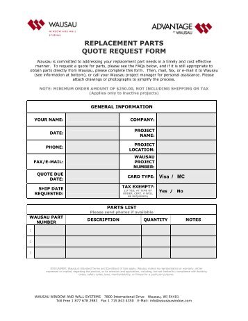 Replacement parchment request form for Window replacement quote
